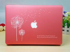 Kawaii pink color macbook pro 13.3 hard case, dandelion pattern macbook cover for girls, girls' cute macbook flower case, pink laptop protective cover