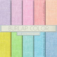 """#Burlap Digital #Paper - """"Burlap Color"""" 10 burlap digital paper """"Burlap Color"""" with great burlap, #linen, #jute texture in green, blue, red, yellow for every #creative project.... #etsy #digiworkshop #scrapbooking #illustration #clipart #printables #crafting #supplies #paper #burlap #fabric"""