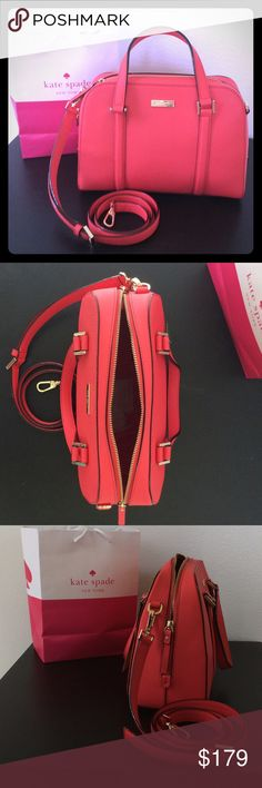 Kate Spade Felix purse, geranium NWT This is an authentic Kate Spade purse, brand new, never used. The geranium color is a beautiful! It is kept in a smoke-free and pet-free home. kate spade Bags