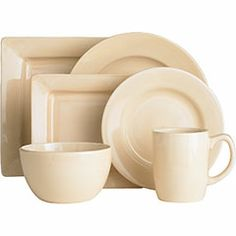 Essential Colours Dinnerware in Ivory from Pier One. 4 Square Salad Plates & 4 Square Dinner Plates.