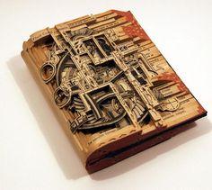 Резьба по книгам Такой нестандартный вид искусства был придуман Брайаном Деттмером. Родом он из Чикаго, но сейчас живет в Атланте. В своем деле Брайан использует старые книги, которые расслаивает с помощью скальпеля и других хирургических инструментов. Таким образом, получаются настоящие произведения искусства. Деттмер проводит выставки в США, Мексике и Европе. Его работы можно встретить и в частных коллекциях.