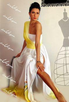 Paris - rochie maxi unicat - creatie proprie - pictata manual