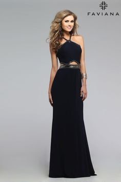 Mesh halter with metallic beading and cutouts #Faviana Style 7729 #PromDresses