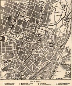 historic city map of Munich center