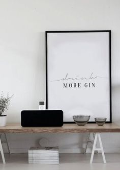 DRink More Gin - Typography Poster - Kitchen Art - Quotes on Travel - Life Quotes