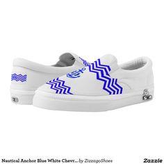 Nautical Anchor Blue White Chevron Stripe Printed Shoes