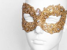 Gold Embroidery Masquerade Mask With Rhinestones  by SOFFITTA