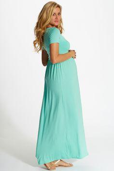 Mint-Green-Solid-Short-Sleeve-Maternity-Maxi-Dress (pink blush)