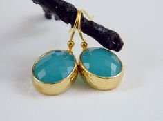 Beautiful, Turquoise-Green, Glass Quartz Dangle Earrings on Etsy, $24.00