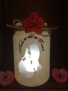 wedding beauty and the beast Beauty and the beast lantern by LoveartsGifts on Etsy Beauty And The Beast Wedding Theme, Beauty And Beast Birthday, Wedding Beauty, Beauty And The Beast Crafts, Christmas Baby Shower, Disney Theme, Disney Crafts, Centre Pieces, Wedding Guest Book
