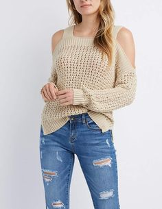 Open Knit Cold Shoulder Pullover Sweater