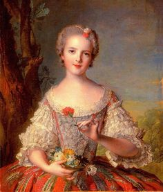 Madame Louise de France Seventh and youngest daughter of King Louis XV and Queen Marie Leszczynska  painted by Jean Marc Nattier in 1748