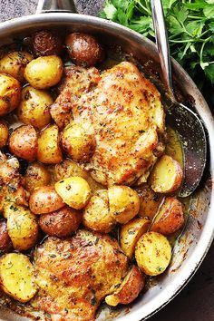 9 SP One Pan Maple Mustard Chicken and Potatoes - Easy and absolutely amazing one pan dinner with chicken thighs and potatoes cooked in a delicious maple syrup and mustard dressing. Chicken Potatoes, Baked Chicken, Chicken Potato Bake, Sauce For Chicken, One Pot Meals, Easy Meals, Maple Mustard Chicken, Maple Chicken, Chicken Thigh Recipes