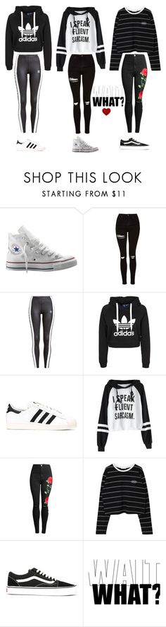 """""""OOTD"""" by wolfio ❤ liked on Polyvore featuring Converse, Topshop, adidas Originals, Vans, outfit, black, adidas and blackandwhite"""