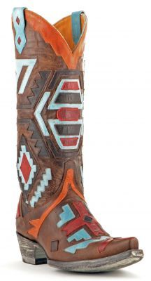 Womens Old Gringo Cherokee Boots Brass And Aqua #L1333-7
