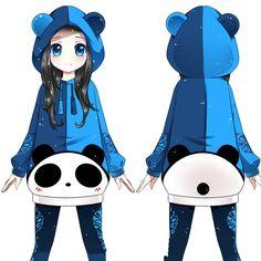 Kawaii cartoon panda hooded fleece jacket