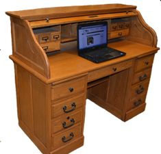 45398e513b21 Roll Top Desk Solid Oak Wood 54 inch Executive Home Office Desk