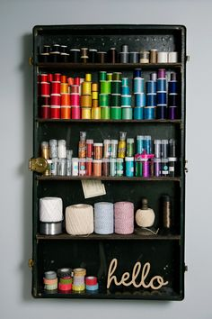 Craft room storage with old steamer trunk