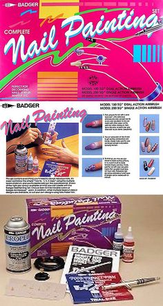 Nail Airbrush Kits and Supplies: Badger Model 100 Sg Complete Nail Airbrush Painting Set 100-13 Dual Action BUY IT NOW ONLY: $69.99