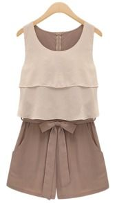 Chocolate Sleevelss Ruffle Bow Waist Chiffon Jumpsuit - Sheinside.com