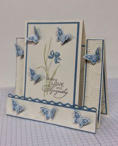 Stamping and Creating: Swirling Butterfly SympathySwirling Butterfly Sympathy by stegsinfo - Cards and Paper Crafts at SplitcoaststampersThanks for your kind comments. Instructions for the Center Step Card can be…Sympathy cards are ones we don't re Fun Fold Cards, Folded Cards, Center Step Cards, Side Step Card, Stepper Cards, Easel Cards, 3d Cards, Shaped Cards, Card Making Tutorials