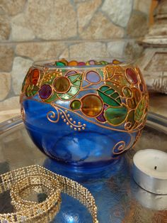 Glass Candle holder Tea light Vase Blue Glass by OrdinaryWWonders