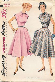 Simplicity 3952-UNCUT 1950s Flattering Dress Vintage Sewing Pattern, by GrandmaMadeWithLove