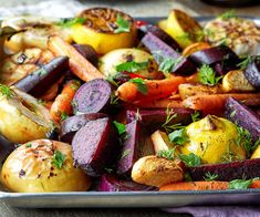 What better way to remind yourself that autumn is here than to have all the fall colors on your plate? The Roasted Root's recipe for roasted fall vegetable salad features tender butternut squash, crunchy pecans, sweet beets and snappy pear slices. Drizzle in some of that maple orange dressing and dig into a fun seasonal ...