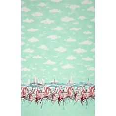 Michael Miller Flamingo Border Seafoam from @fabricdotcom  Designed for Michael Miller Fabrics, this cotton print fabric is perfect for quilting, apparel and home decor accents. Colors include seafoam, white, flamingo, pink, blue and navy.