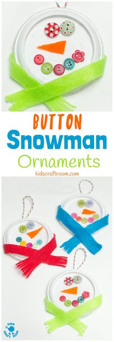 BUTTON SNOWMAN ORNAMENTS - Button eyes and snug scarves make these the cutest snowman craft for kids to make this Winter. A thrifty recycled Christmas and Winter craft for kids. #snowman #snowmancrafts #buttoncrafts #kidscrafts #ornaments #christmas #christmascrafts #winter #wintercrafts #recycledcrafts #wintercraftsforkids #craftideasforkids #kidscraftroom via @KidsCraftRoom
