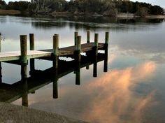Reflections of the sunset in Beaufort, North Carolina.  (Photo by Betsy Cartier)