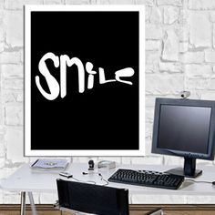 SMILE Print Home Decor Motivational Quotes Digital Ouotes Print Digital Typography Poster Typography Art Wall Decor Poster 8X10 11x14 by sweetdownload on Etsy