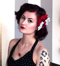 Pucker Up Luscious Lips Heart and Dots Hair Flower - Punk Up Bettie