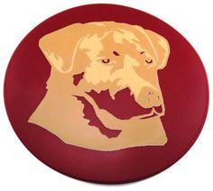 Round Red Silicone Golden Labrador Trivet