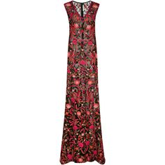 Naeem Khan Floral Embroidered V-Front Gown ($4,490) ❤ liked on Polyvore featuring dresses, gowns, red sleeveless dress, floor length dresses, v neck gown, sleeveless v neck dress and red floor length gown