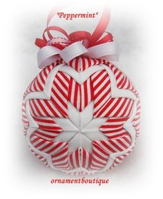 Quilted Christmas Ornament Peppermint red by OrnamentBoutique