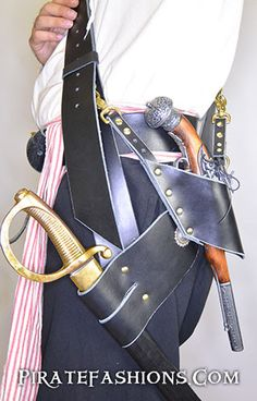 The grand thing about being a pyrate is carrying lots of dangerous looking weapons. The best way to do that would be with arrr new shoulder baldric. We crafted this flexible n' complete Leather Baldri