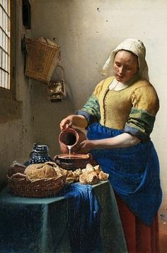 'The Milkmaid by Johannes Vermeer Painting Print on Paper Johannes Vermeer, The Milkmaid Vermeer, Delft, Amsterdam Wallpaper, Vermeer Paintings, Classic Paintings, Wallpaper Panels, Dutch Artists, Renaissance Art