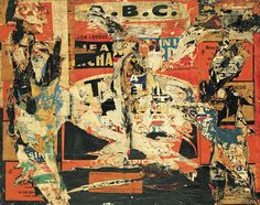 Jacques Villeglé, ABC, 4 March 1959, décollage mounted on canvas