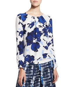 Floral-Print Pleated Silk Blouse