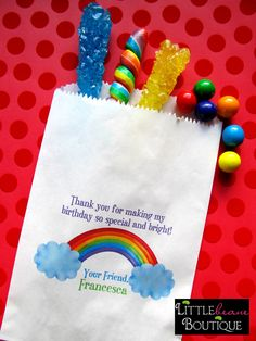 Rainbow Birthday Party, Favor bags, candy bags, Candy Buffet, Birthday party, Sweets, Treats, Set of 24. $19.75, via Etsy.