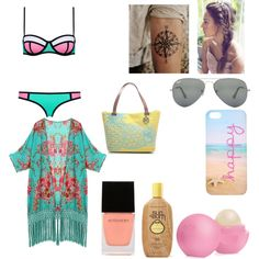 Untitled #247 by oliviamarvel on Polyvore featuring polyvore fashion style Emilie M Ray-Ban Eos Sun Bum Witchery