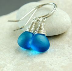 Blue  Quartz Earrings    Sterling Silver    Wire Jewelry by hildes, $33.00