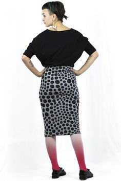 Spot Small - Pencil Skirt Stretch Ethical Clothing, Fashion Brand, Stretches, Print Design, High Waisted Skirt, Pencil, Skirts, Fabric, Clothes