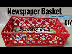 How To Make Basket From Newspaper - DIY Basket Making - Best Out Of Waste, In this video tutorial you will be able to learn how to make a basket using newspa. Newspaper Wall, Newspaper Basket, Newspaper Crafts, Cardboard Paper, Cardboard Crafts, Yarn Crafts, Arts And Crafts For Adults, Papercrete, Magazine Crafts