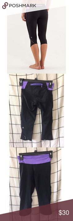 LULULEMON // Ruffle Crop Leggings Same as model picture but purple band! In great condition. lululemon athletica Pants Leggings