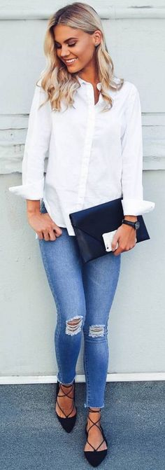 #spring #fashion #outffitideas | White Shirt + Denim