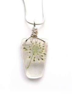 Queen Anne Lace Necklace  Real Flower Encased in by ScrappinCop, $10.00