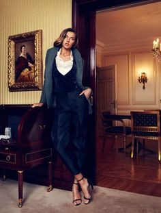 Emporio #Armani gray felt jacket worn over a velvet vest and organza pants