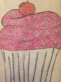 food hats project Cupcake drawing with fine liners